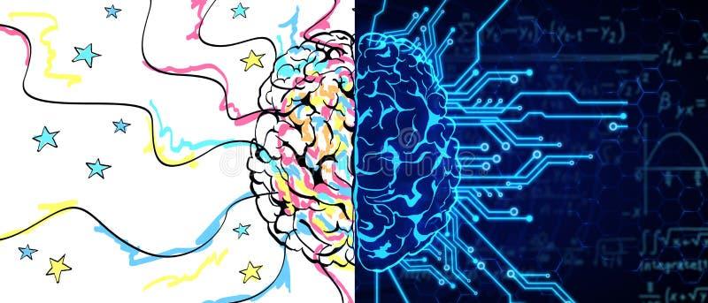 Concept d'AI et de créativité illustration libre de droits