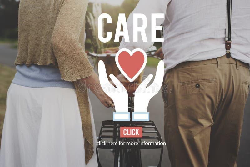 Concept d'aide de souci d'assurance de soin images libres de droits