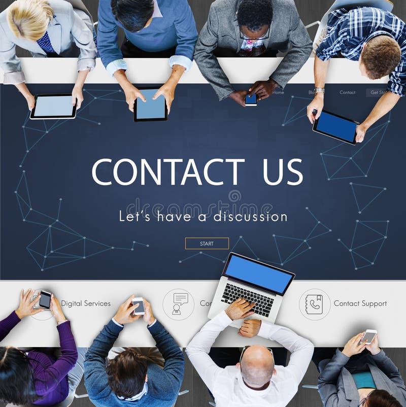 Concept d'aide de soutien de rétroaction de s'inscrire de contact photographie stock