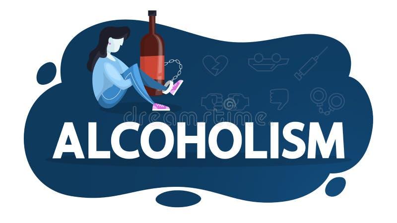 Concept d'alcoolisme Personne enchaînée au verre illustration stock
