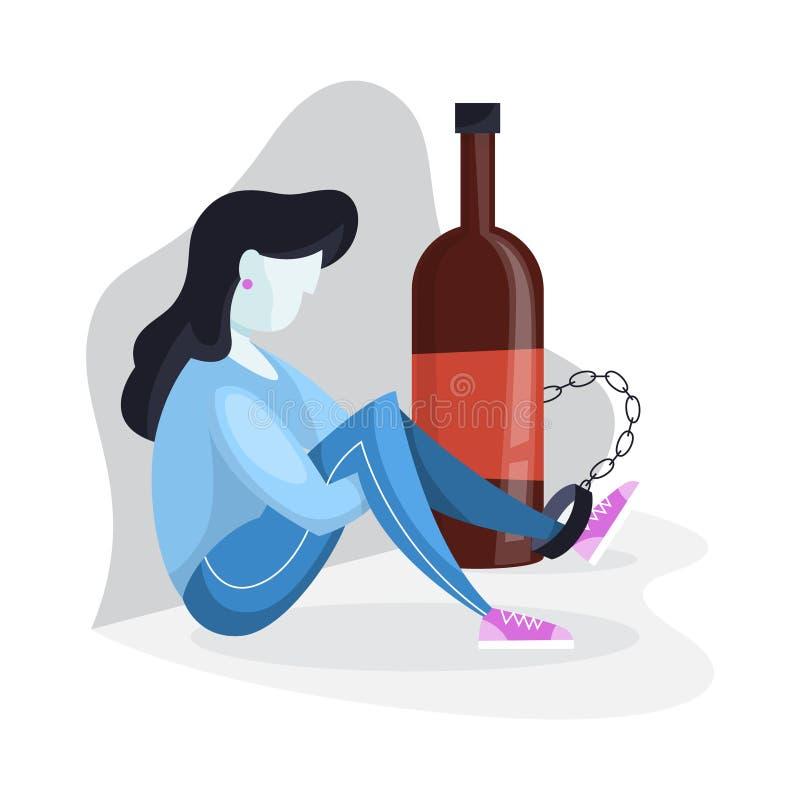 Concept d'alcoolisme Personne enchaînée au verre illustration libre de droits