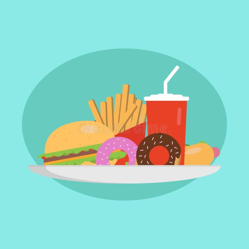 Concept d'aliments de préparation rapide Plat avec l'hamburger, le hot-dog, les butées toriques, et le kola Illustration illustration stock