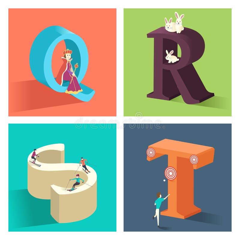 Concept d'alphabets dans 3D illustration libre de droits