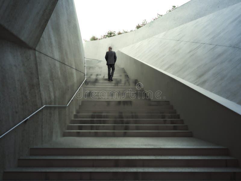 Concept d'ambitions avec un homme d'affaires montant les escaliers abstraits illustration libre de droits