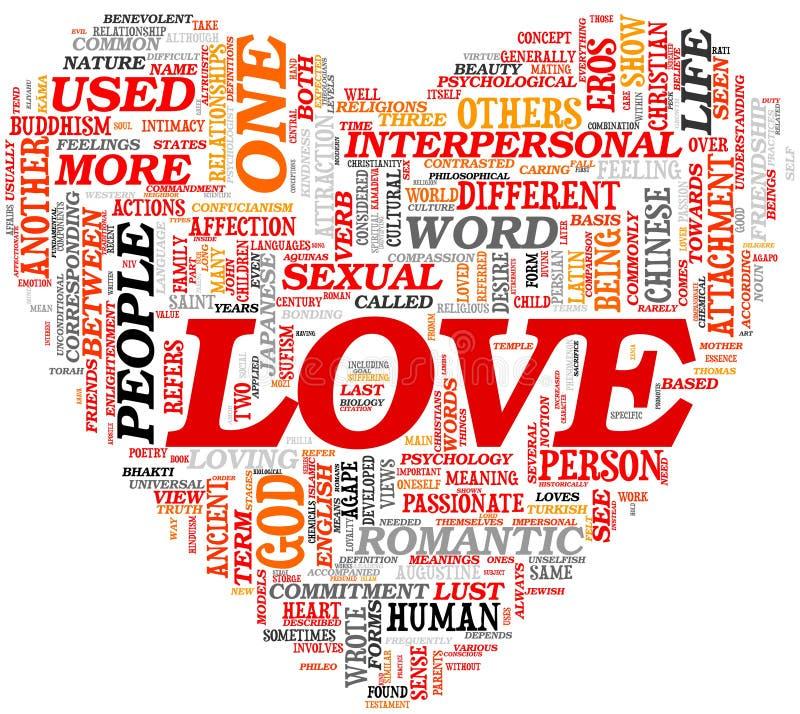 Concept d'amour en nuage d'étiquette illustration stock