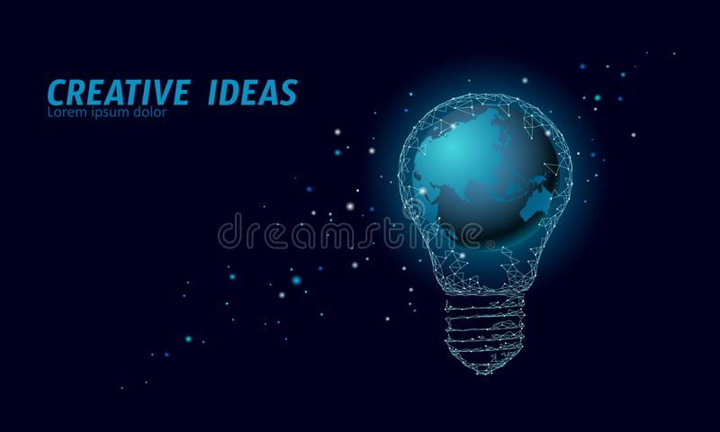 Concept d'ampoule d'heure de la terre du monde Basses poly économies d'eco de carte de globe de planète de lampe de nuit de l'esp illustration libre de droits
