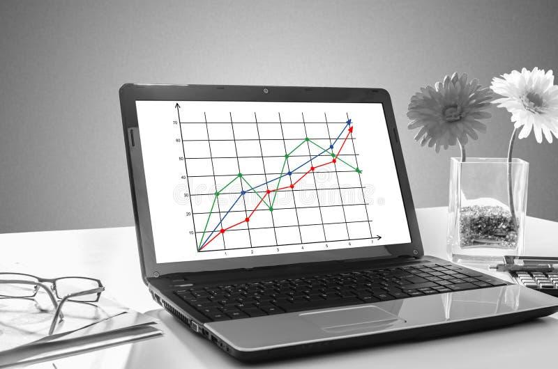 Concept d'analyse commerciale sur un écran d'ordinateur portable photo stock