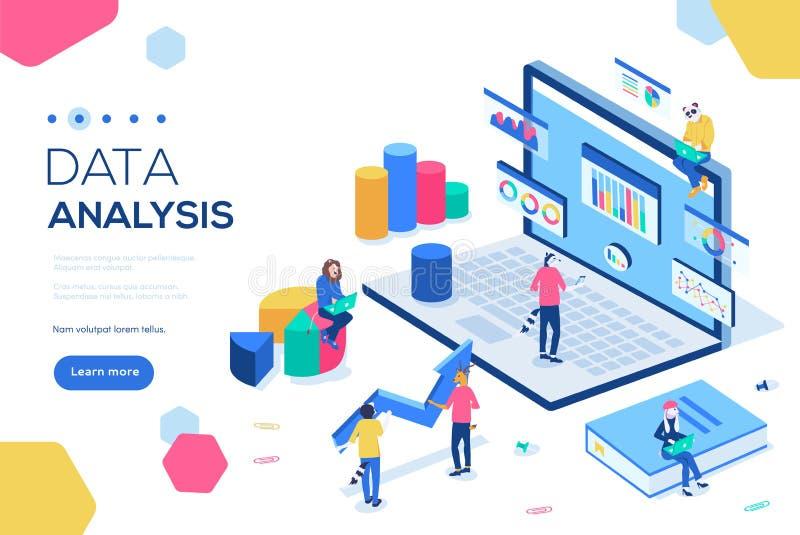 Concept d'analyse de données avec des caractères Peut employer pour la bannière de Web, infographics, images de héros Vecteur iso illustration stock