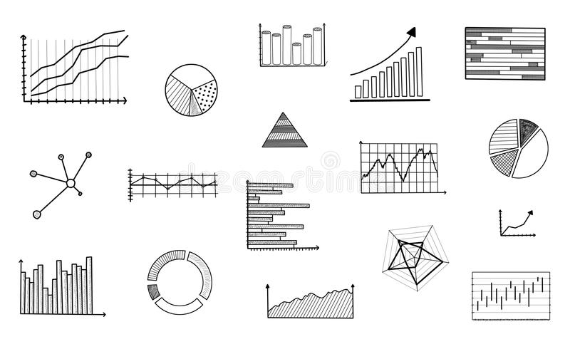 Concept d'analyse graphique sur le fond blanc illustration de vecteur