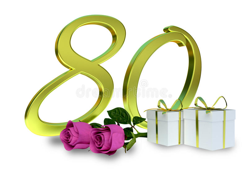 Concept d'anniversaire avec les roses roses - quatre-vingtième photo stock