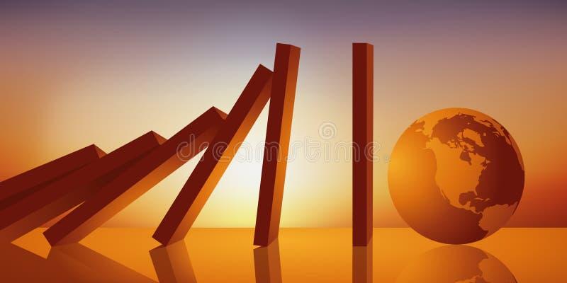Concept d'apocalypse avec l'effet de domino préparant pour écraser la terre illustration libre de droits
