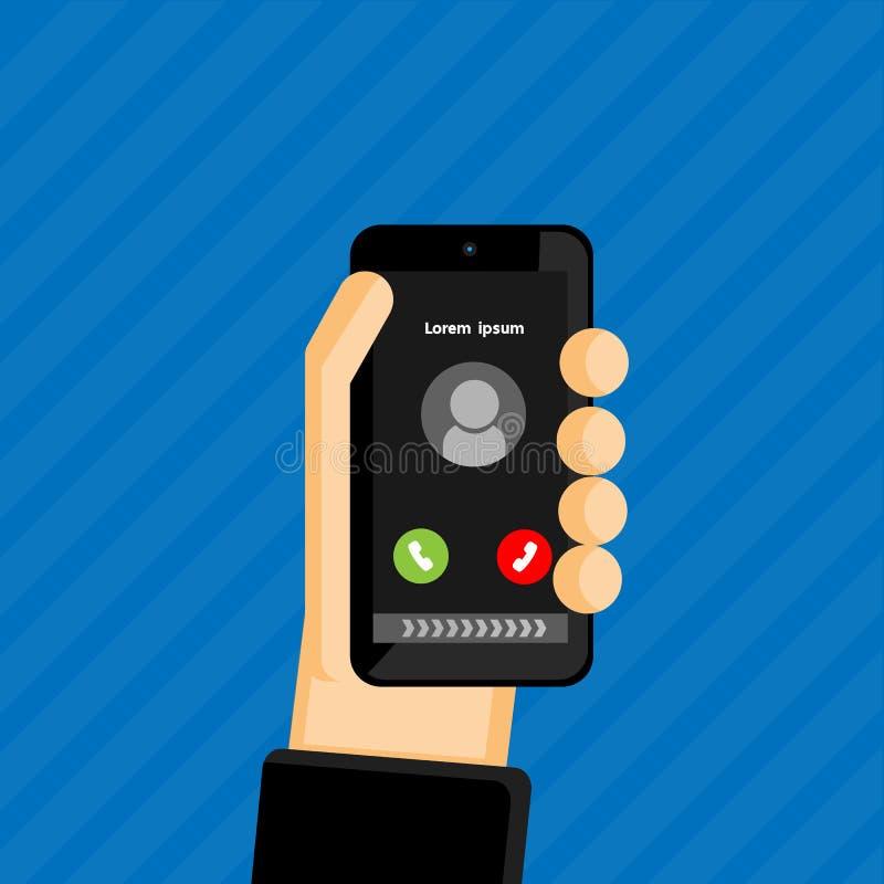 Concept d'appel d'arrivée, main tenant le téléphone portable illustration de vecteur