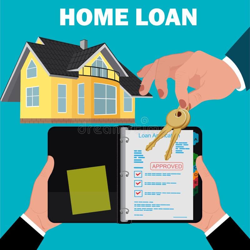Concept d'application de prêt immobilier, hypothèque, conception plate, illustration de vecteur illustration de vecteur