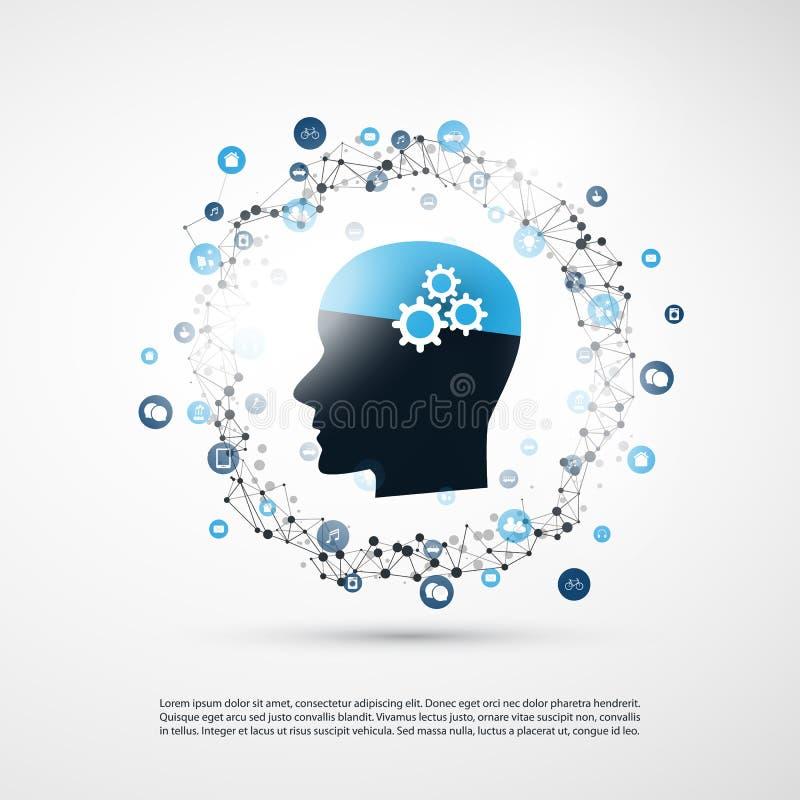 Concept d'apprentissage automatique, d'intelligence artificielle et de construction de réseaux avec les icônes et la tête humaine illustration libre de droits