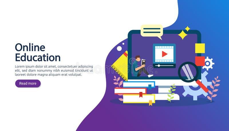 Concept d'apprentissage en ligne avec l'ordinateur, le livre et le caract?re minuscule de personnes dans le processus d'?tude EBo illustration de vecteur