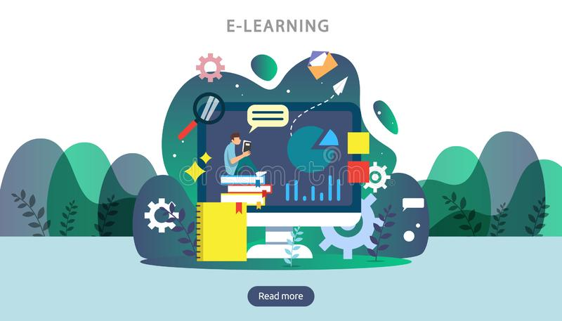 Concept d'apprentissage en ligne avec l'ordinateur, le livre et le caract?re minuscule de personnes dans le processus d'?tude EBo illustration stock