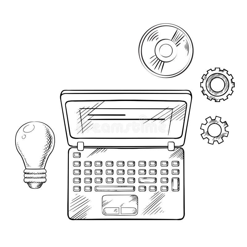 Concept d'apprentissage en ligne avec l'ordinateur portable et l'idée illustration de vecteur