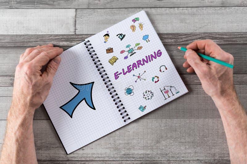Concept d'apprentissage en ligne sur un bloc-notes photo stock