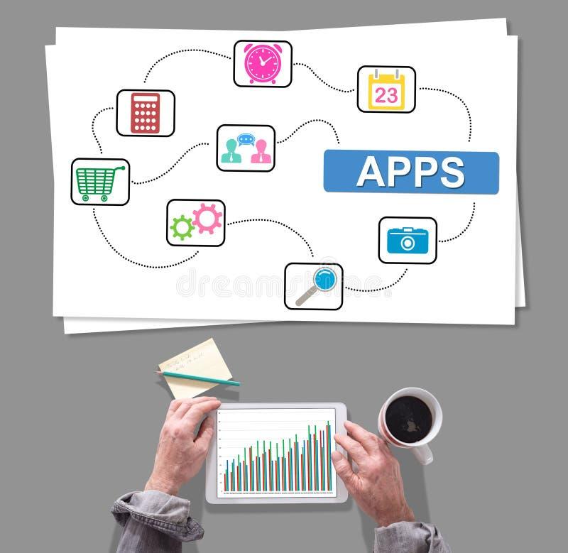 Concept d'Apps placé sur un bureau images libres de droits