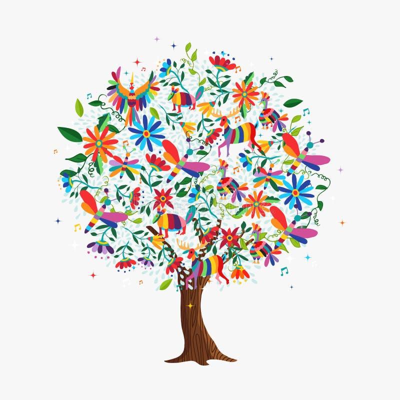Concept d'arbre de ressort avec des animaux et des fleurs de couleur illustration stock