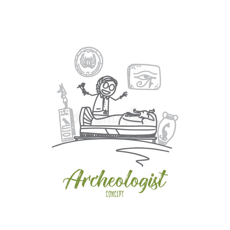 Concept d'archéologue Vecteur d'isolement tiré par la main illustration stock