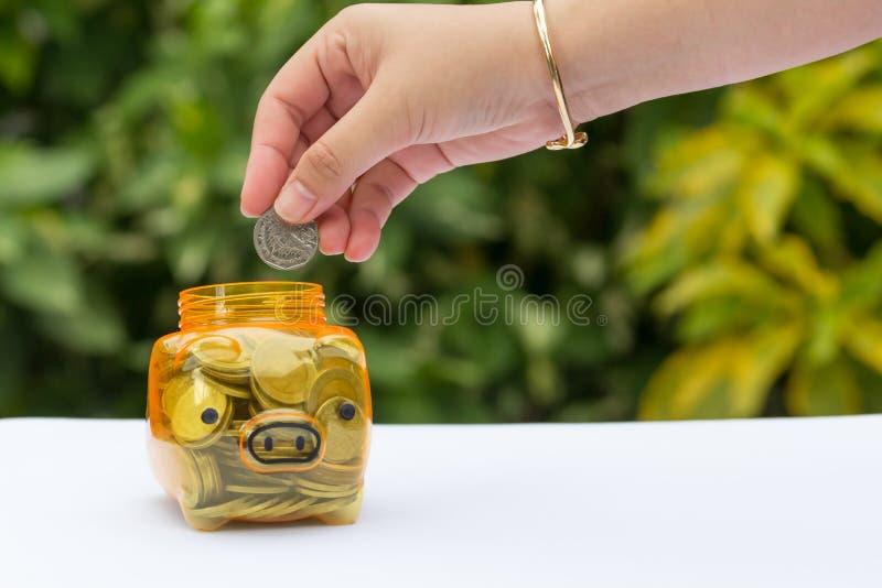 Concept d'argent d'économie avec le fond brouillé photos stock