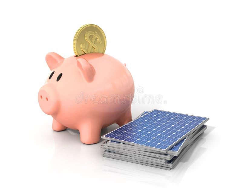 Concept d'argent d'économie si employant l'énergie solaire photographie stock libre de droits