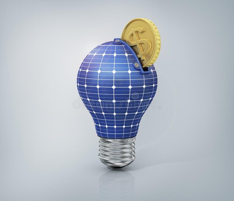 Concept d'argent d'économie sur l'énergie solaire illustration stock