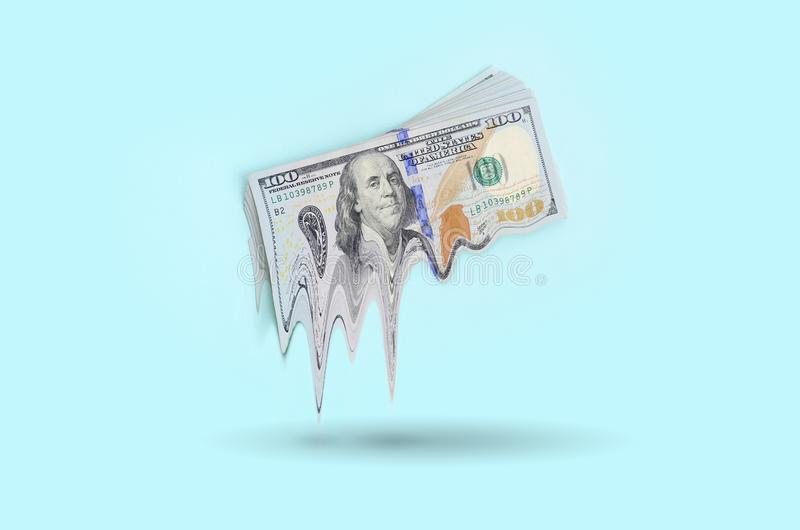 Concept d'argent de perte Chute en valeur de devise des USA photos stock