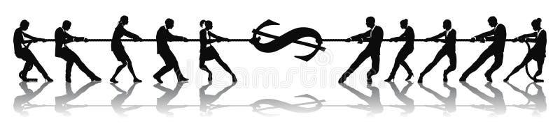 Concept d'argent du dollar de conflit illustration stock