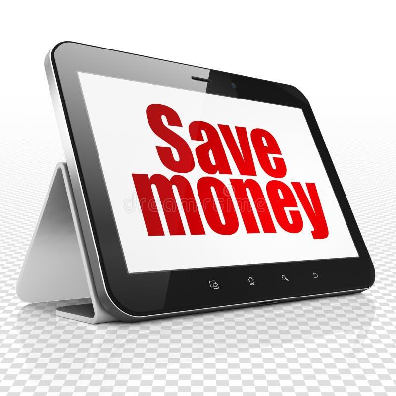 Concept d'argent : La tablette avec épargnent l'argent sur l'affichage illustration de vecteur