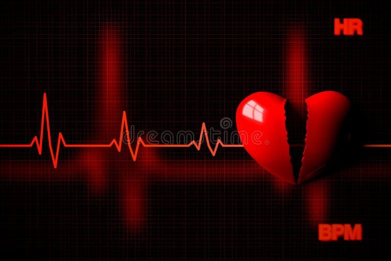 Concept d'arrêt du coeur illustré par le coeur brisé, rendu 3D illustration libre de droits