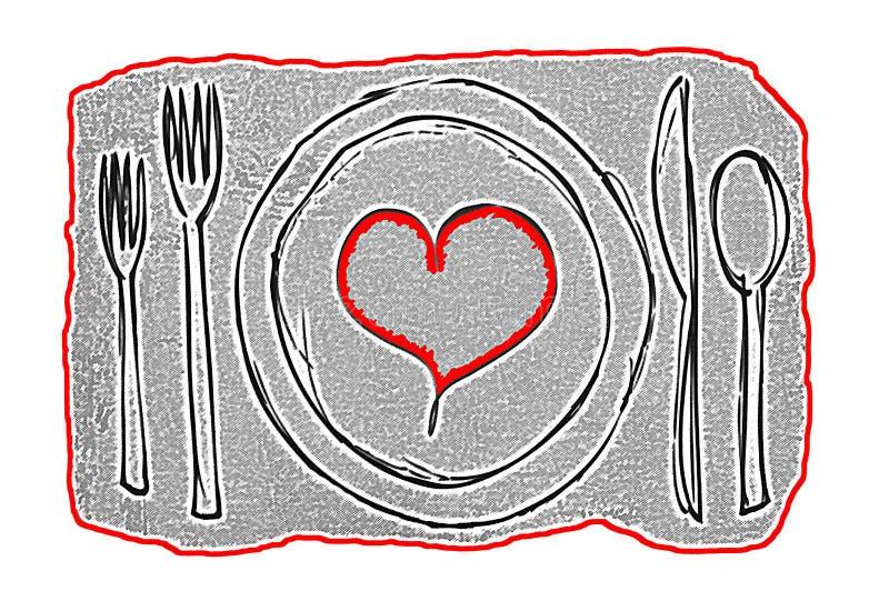 Concept d'art contemporain de date de dîner avec le plat contenant un coeur rouge entouré par l'argenterie illustration stock