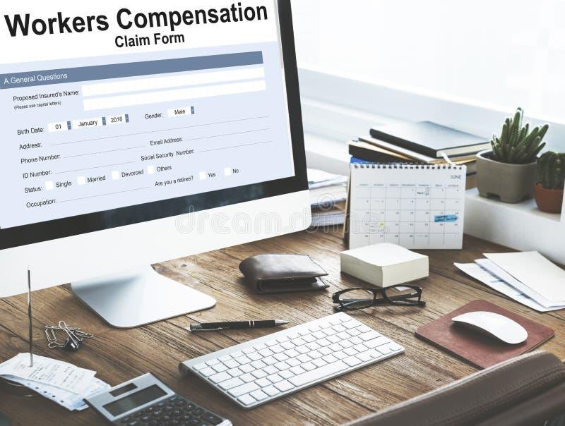 Concept d'assurance de formulaire de réclamation de compensation de travailleurs images libres de droits