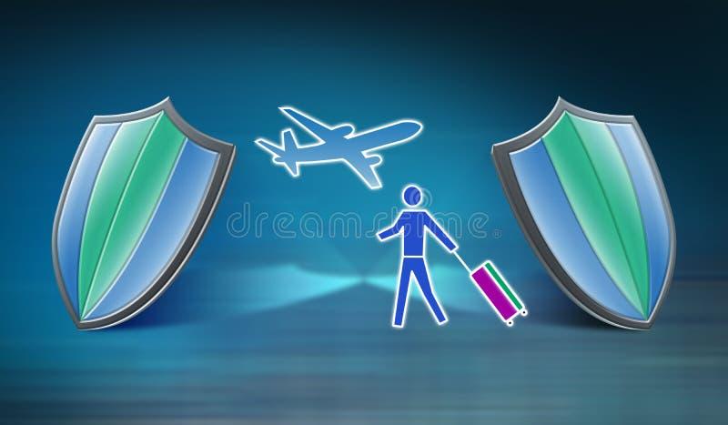 Concept d'assurance de voyage illustration stock