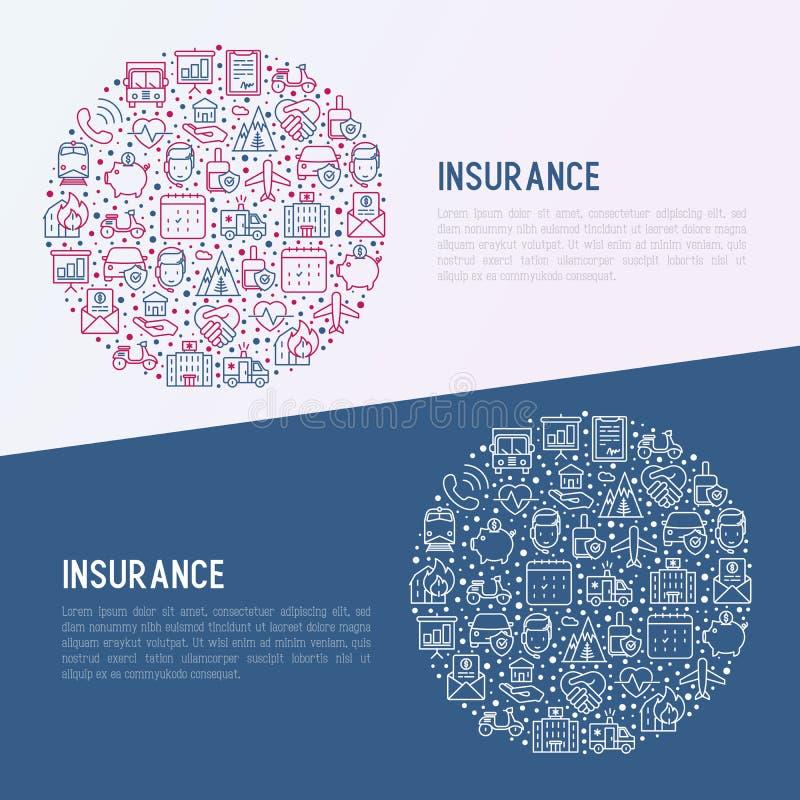 Concept d'assurance en cercle avec la ligne mince icônes illustration de vecteur