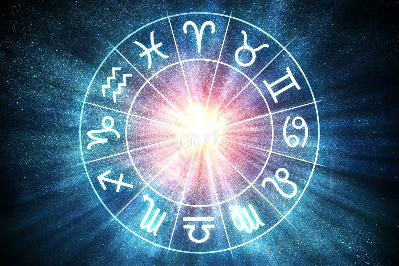 Concept d'astrologie et d'horoscopes Le zodiaque signe dedans le cercle 3D a rendu l'illustration illustration libre de droits