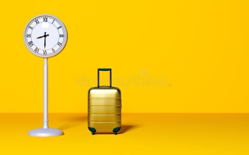 Concept d'attente d'affaires de temps Voyage, en retard, réunion Style minimal illustration stock