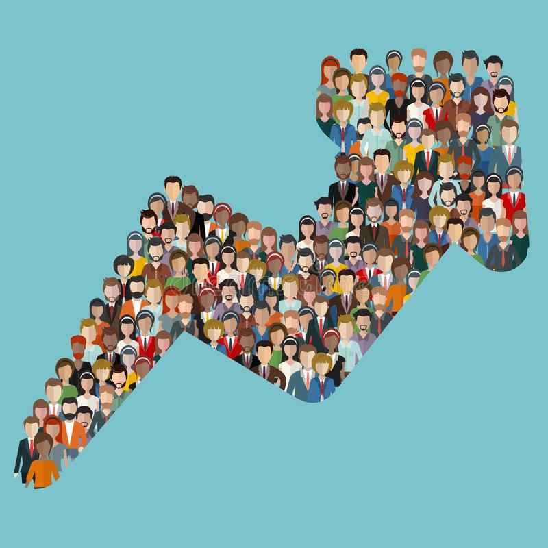 Concept d'attirer des clients et des clients aux affaires Grand groupe de personnes sous forme de direction de flèche illustration de vecteur
