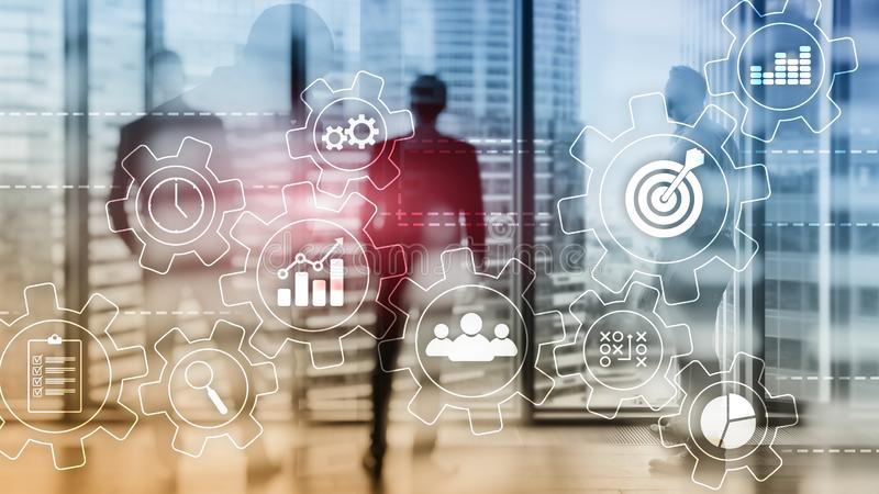 Concept d'automatisation des processus d'affaires Vitesses et ic?nes sur le fond abstrait photographie stock libre de droits