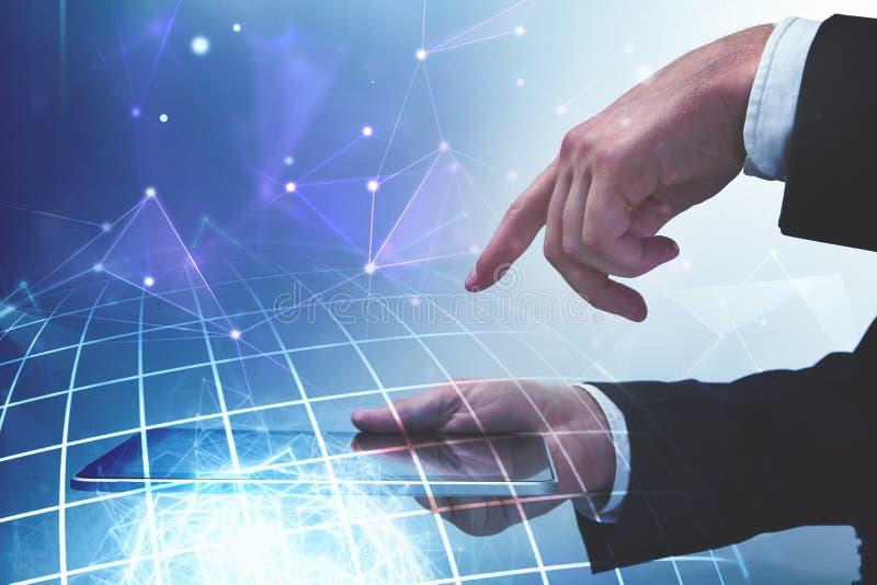 Concept d'avenir, de communication et d'émission image stock