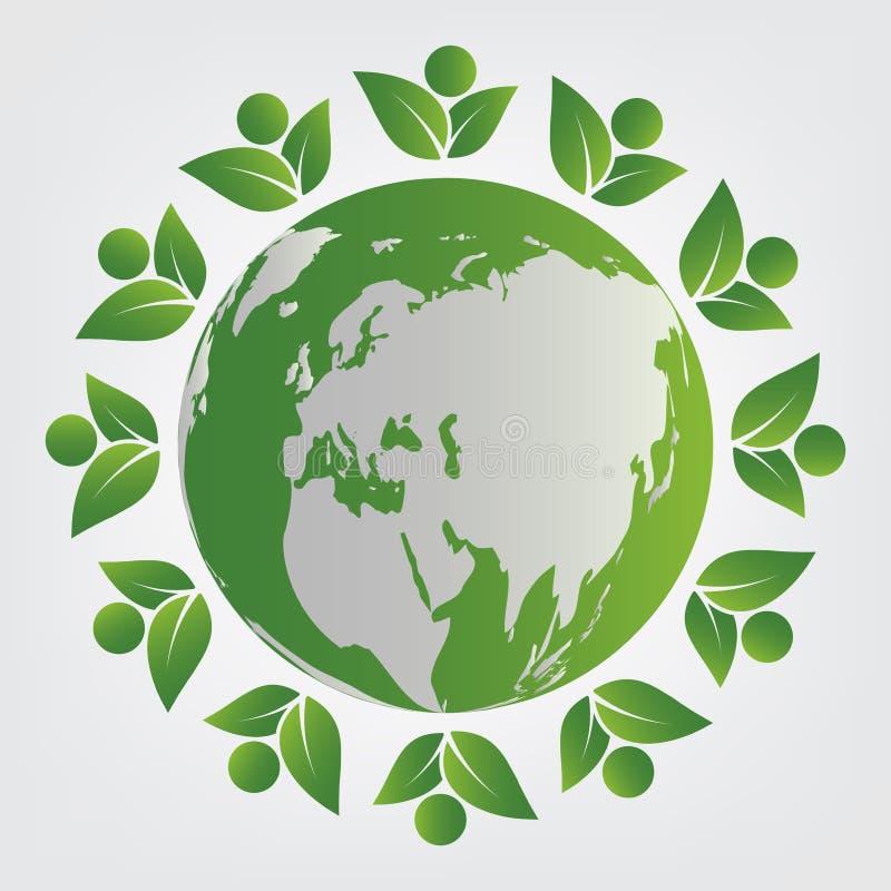 Concept d'?cologie le travail d'?quipe vert part avec dans le monde entier Illustration de vecteur illustration de vecteur