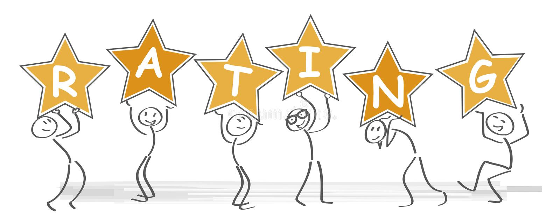 Concept d'or de évaluation d'étoiles Illustration de vecteur illustration libre de droits