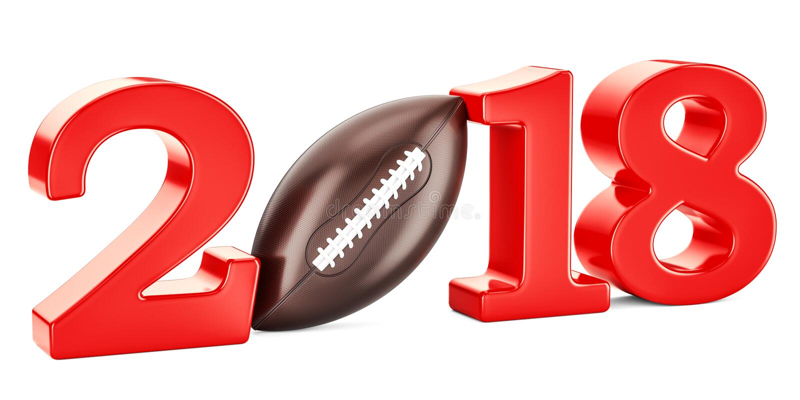 Concept 2018, 3D de football américain illustration stock