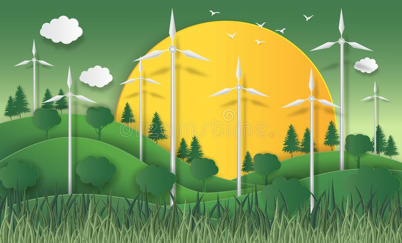 Concept d'eco, concept à énergie solaire avec les turbines de vent vol. élevé illustration de vecteur