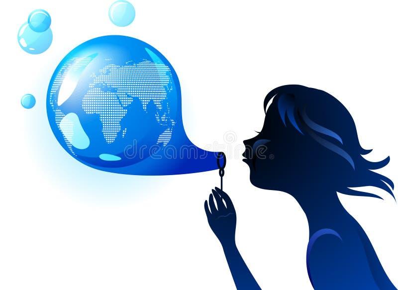 Concept d'eco de bulle de la terre illustration libre de droits