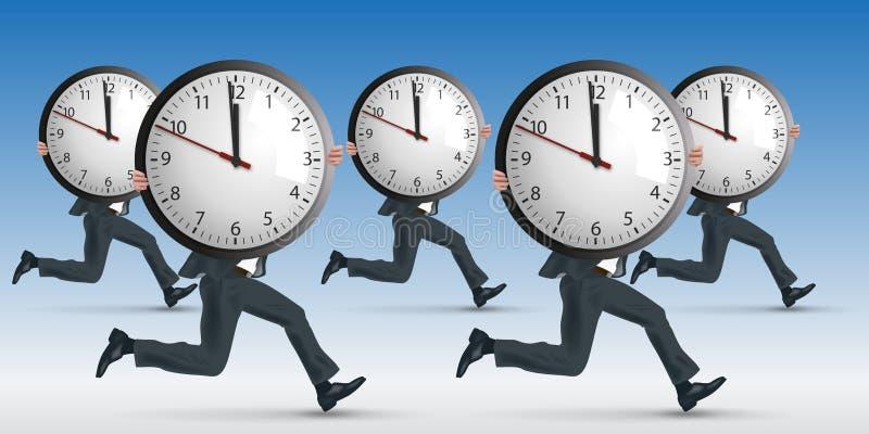 Concept d'effort au travail, avec un fonctionnement d'homme tout en symboliquement portant une horloge illustration libre de droits