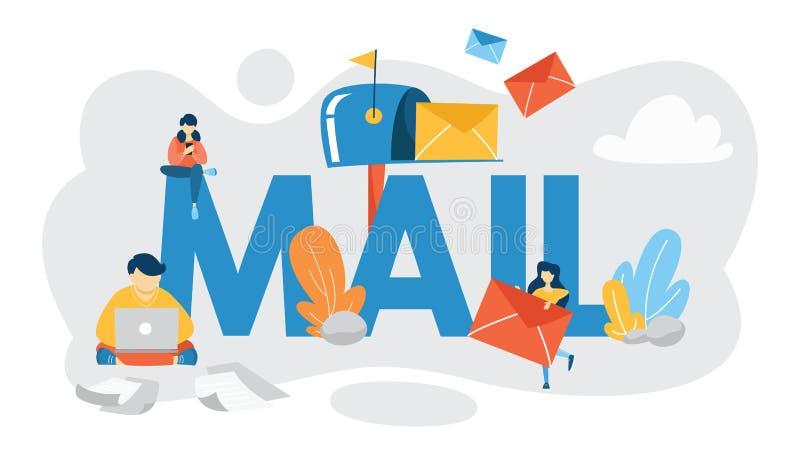 Concept d'email ou de courrier Recevez le message dans la boîte de lettre illustration stock