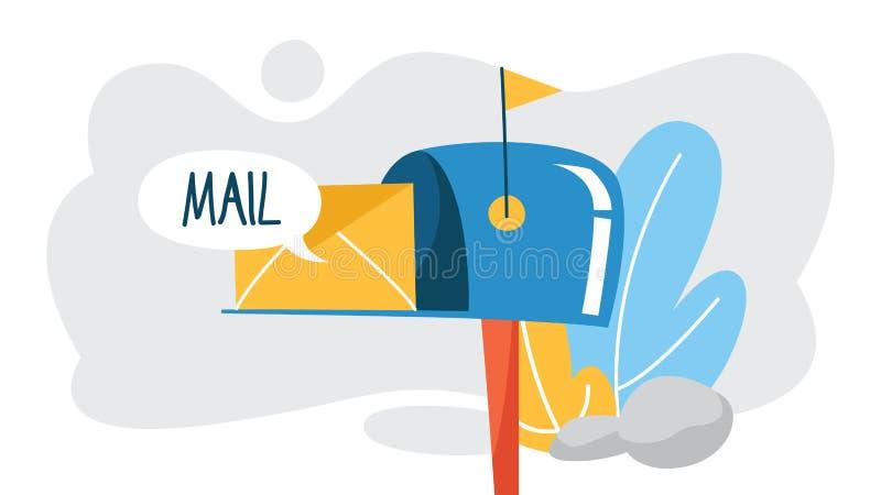 Concept d'email ou de courrier Recevez le message dans la boîte de lettre illustration de vecteur