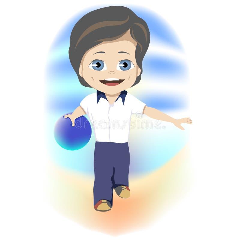 concept d'enfance heureux Jeune garçon futé jouant un jeu des cuvettes pendant ses vacances d'été dans un concept de récréationne illustration de vecteur